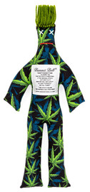 """Dammit Doll reads: """"Dammit Cannabis is here to remind you.  That no stress is unbeatable.  If the medicinal effects just don't cut it, grab this doll and slam it!  Let that stuffing fly and yell dammit!""""  Roughly 12 inches tall."""