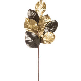 "Impress your guests with a stunning tabletop centerpiece, breathtaking bouquet, or elaborate embellishment hanging upon the wall when you design using this magnificent magnolia accent spray. Having a timeless golden hue, this piece can easily transition from fall to Christmas, and naturally looks stunning at a wedding or celebration with any level of elegance. Dimensions:	8.25""L x4""W x22""H Weight:	1.80oz Color:	Gold Brown"
