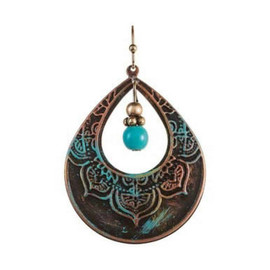 Fire Rainbow Patina Open Teardrop Etched Design Turquoise Bead Earring