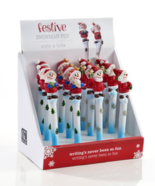 Make writing more fun this winter with this blue and white pen designed with green trees and topped with a snowman figurine in a red outfit.  Sold individually.