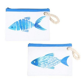The ultimate bag for summertime! Polyester pouch features watercolor fish design with zipper enclosure and rope handle. 2 assorted styles. Use for makeup, suntan lotion, or to hold keys and sunglasses.  Sold individually.