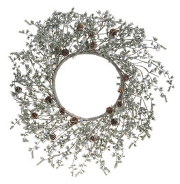 "Delicately glittered wreath with small needled pine and mini cones  23/4"" H. x 23"" Dia"