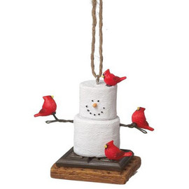 """Cute marshmallow S'more snowman just hanging out with his cardinal friends. Great gift for snowman collectors, lovers of birds, or anyone who wants a sassy little marshmallow in their life! Dimensions: 3"""" L. x 1.75"""" W. x 2.5"""" H. x 0.125 lb. w"""