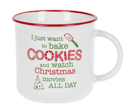 "Stoneware mug is dishwasher and microwave safe. ""I just want to bake cookies and watch Christmas movies all day"" is a sentiment we can all agree on during the holidays."