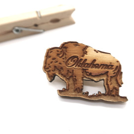 Laser Cut Buffalo Wood Oklahoma Lapel Pin