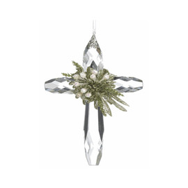 """.25 bls apprx 8 x 5 x 3""""  cross made of clear acrylic crystal ornament with glittery mistletoe accent on top"""