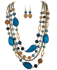 Gold and Blue Colored Chains with Flat Suede Blue Beads, Round Soft Taupe and Blue Faceted Glass Beads Matching Blue and Taupe Bead French Wire Drop Earring Necklace Set