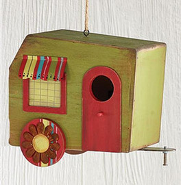 "Rustic wood camper birdhouse, distressed with tin accents. Green  Measures 8 1/2"" H x 11"" W x 5 1/4"" D"