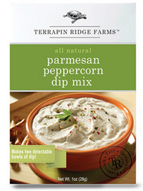Loaded with fresh flavor, this gourmet dip is a medley of Parmesan & Romano cheeses, spices and three types of peppercorns; pink, green and black pepper. Terrific as a veggie dip or with chips and pretzels. Each box makes 2 dips. Gluten Free. Keto Friendly. Low Carb. Sugar Free.