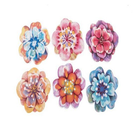 "Put an end to walking into your screen door, or simply use these cute flower magnets to dress up the look of your RV or garden room. The colorful bloom magnetically attaches to any type of window or door screen, causes no damage, and can even mask smaller tears in the screen to keep insects out.  This two-piece lightweight metal flower looks pretty from both sides. Approximately 3"" across.  Assorted colors, let us choose one for you."
