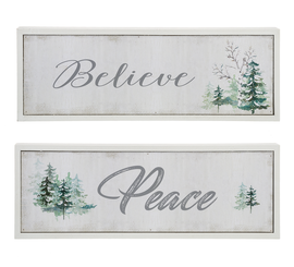 "Delicate shades of gray, sage, and green echo the serene sentiments of the season. Choose ""Believe"" or ""Peace"" 11 7/8""W. x 1 1/8""D. x 4 1/8""H"