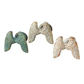 "Angelic cast iron wall hooks. Great for coats, towels or anything you need to hang. Available in three colors (each sold separately): vintage green vintage grey vintage white Each measure 4"" L. x 2 3/4"" W. x 4"" H.0 lb. w"