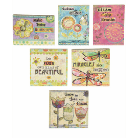 """Choose between six assorted designs.  Sold individually.  Dimensions: 3"""" W. avg. x 3"""" H. avg. x 3/8"""" D. avg."""