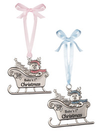 "Pink or blue embellished baby reindeer in sleigh 3""W. x 23/4""H.  Each design sold individually."