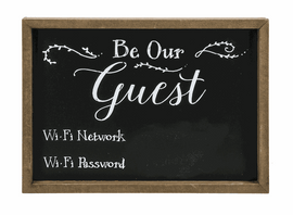 Chalkboard sign invites guests to utilize the local Wi-Fi- a must for every overnight host.