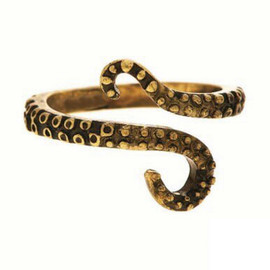 Antique Gold Octopus Tentacle Adjustable Ring