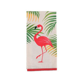 Flamingo Dishtowel This beautiful dishtowel will make you stand out of the flock! Cotton dishtowel features flamingo and palm leaf design with ribbon trim.