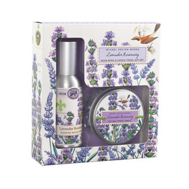 "A delightfully scented Room Spray and Candle Travel Gift Set designed to freshen the air in the places they stay. DETAILS Box Size: 6.4 x 7 x 1.9"" / 16.2 x 17.8 x 4.8 cm SCENT The unmistakable scent of lavender with rosemary and a hint of eucalyptus"