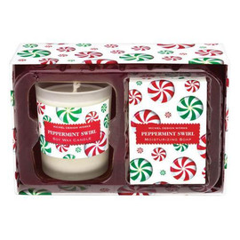 For fall and winter holidays, we're offering two matched-scent favorites all packed up and ready to go. A present with presence! DETAILS SOAP: 2.1 oz. / 60 g ? CANDLE: 2.5 oz. / 70 g, approximately 12 hrs. burn time. SCENT Peppermint candy cane with touches of spearmint, vanilla, and eucalyptus