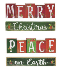 "Red and green wooden stacking blocks with ""Merry Christmas"" or ""Peace on Earth"" 7 1/2""W. x 1 3/8""D. x 3 5/8""H.  Each set is sold individually."