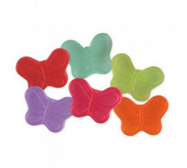 Colorful mini butterfly gummies in a variety of fruity flavors.
