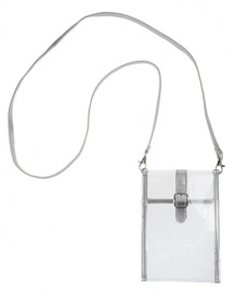 """Stadium Style Phone Bag Snap closure; straps attach w/lobster clasps. Include 1 color black paper 3"""" x 2"""" Perfect for Stadium Security Additional Sizing: 54"""" L. Strap Color: Silver, Clear Dimensions: 51/4"""" W. x 71/4"""" H."""