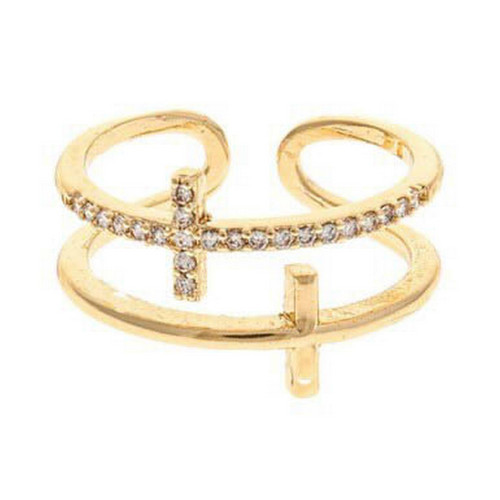 Gold Tiny Clear Crystal Genuine Cubic Zirconia Opposing Cross Open Back Adjustable Brass Ring