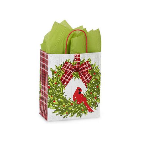 Christmas Plaid Cardinal Shopping Bags Cub Size