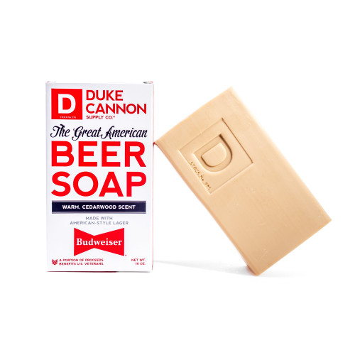 Soap made with real Budweiser beer cedarwood scent Duke Cannon
