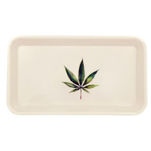 Weed rolling tray with botanical hemp leaf design