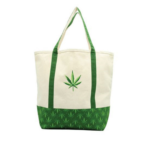 "Weed tote bag Sizeable canvas bag is 19"" x 15"". Features an embroidered hemp leaf, sturdy sewn handles and green weed print accent."