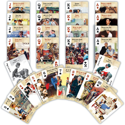 Iconic American artist for the Saturday Evening Post, Norman Rockwell's unique style is instantly recognizable. All face cards feature art by Norman Rockwell.