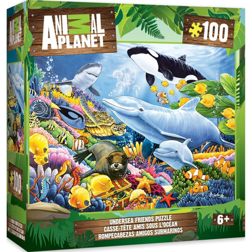 """Your favorite Animal Planet animals brought to life in a 11.5""""x15"""" 100pc Undersea Friends Puzzle by MasterPieces. A portion of all product sales are donated to R.O.A.R charities supporting wild and domestic animals.This puzzle is perfect for all animal lovers!"""
