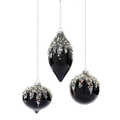 Onion orb or finial shaped black glass beaded ornament with sequins.