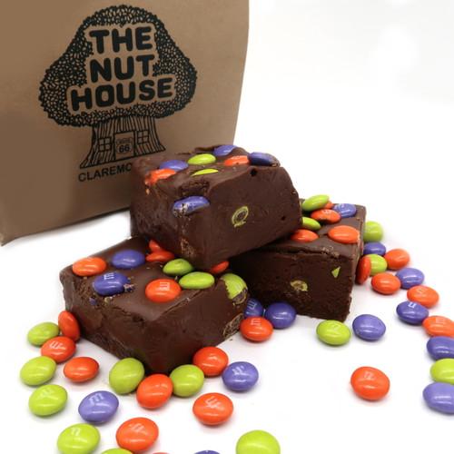 Halloween colored M & M chocolate fudge.