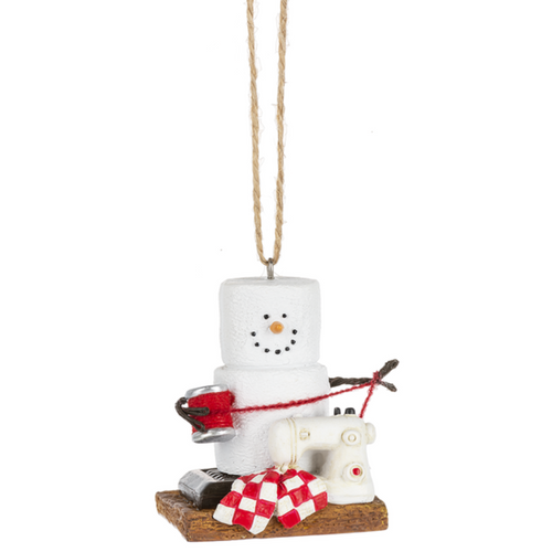 "Perfect collectible S'more ornament for that crafter or quilter- little Marshmallow character with sewing machine and thread.   2 1/4"" W. x 2 5/8"" H."