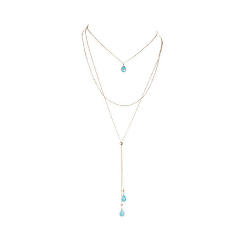 Aqua gold high-low necklace by Rain Jewelry