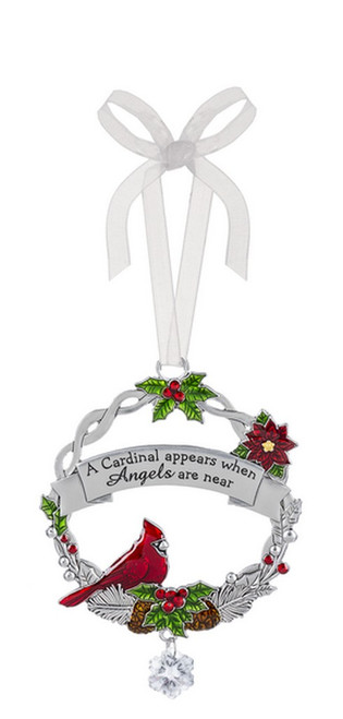 """""""A cardinal appears when angels are near"""" round ornament with organza string for hanging."""