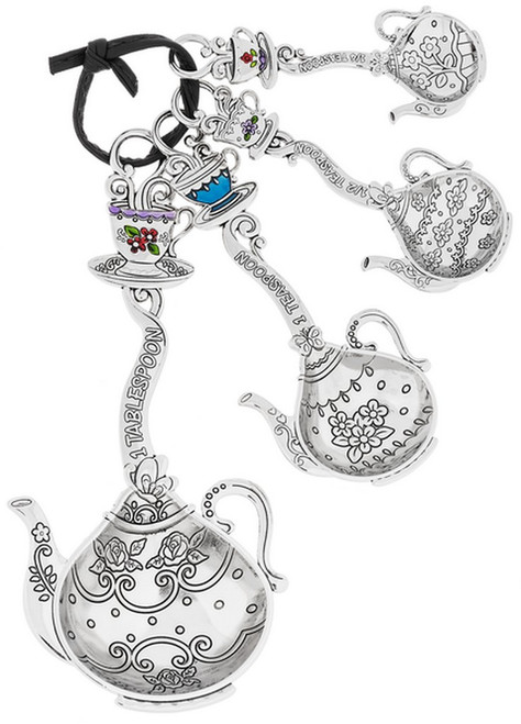 """Beauty can be measured with these intricately-detailed, pretty teapot-shaped silver-tone spoons. This four-piece set adds a dash of happiness with every scoop. Dimensions: 51/2"""" L. avg."""