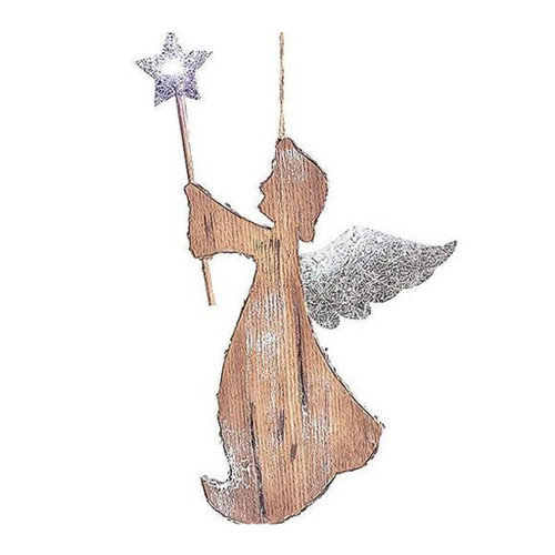 """Foam and wood veneer angel ornament holding a star wand with LED light in the star. Requires 2 CR2032 lithium batteries. 10 1/2""""H X 6""""W 14""""H with loop for hanging"""