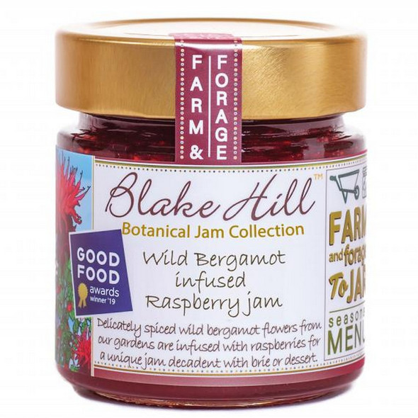 "Blake Hill's Good Food Awards winning ""Wild Bergamot-infused Raspberry Jam"" is a creation from the Wild Bergamot flowers flourishing in the Gardens at Blake Hill.  Also known as bee balm, this stunning flower was originally used by Native Americans as a lightly floral, peppery tea and Blake Hill has innovatively infused this incredible companion flavor with fruity, bright and tart raspberries."