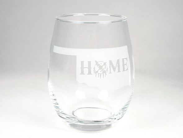 "Real glass with etched state spelling out ""Home"" The ""O"" is formed using the Osage shield. A thoughtful souvenir gift for those back home."