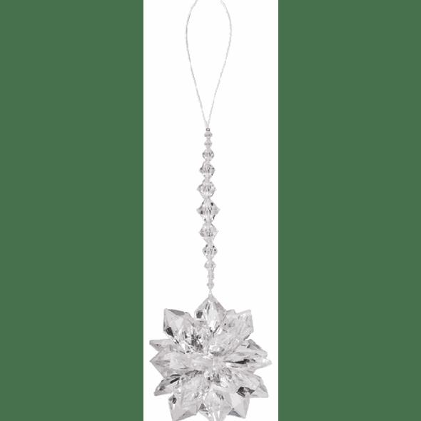"Big acrylic starburst ornament measures 7"" L."
