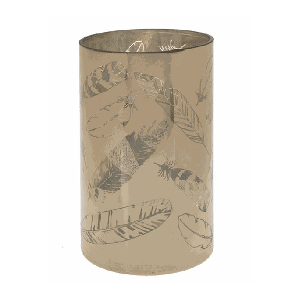 "On/off switch. Golden Feather Candle Holder - Lg. Dimensions: 43/4"" Dia. x 8"" H. Battery Details: Requires 3 'AAA' batteries."