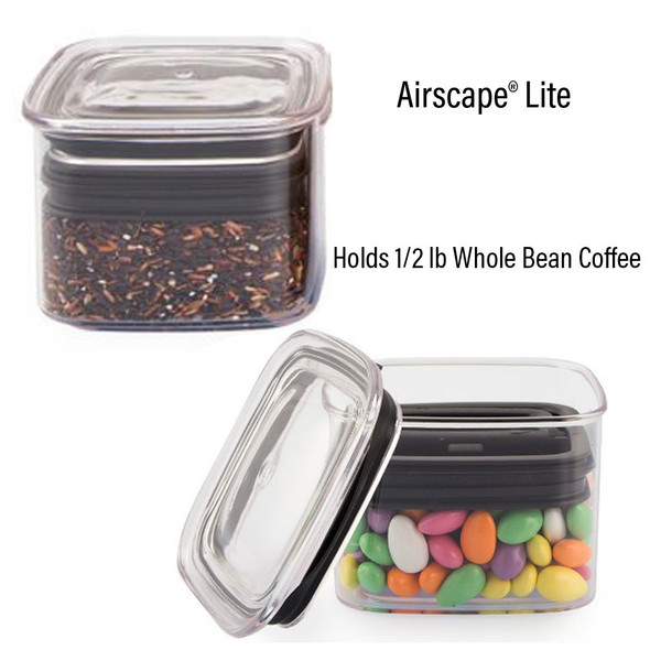 "The Airscape® Lite canister is made from a durable and BPA and phthalate–FREE copolyester (#5 plastic), are stackable and square-shaped to save space, and are perfect for keeping baking ingredients, tea, flour, sugar, spices, cereal, seeds, nuts, cookies, pet food, and so much more, super fresh, for super long. The Airscape® canisters go beyond being ""airtight"", which locks air inside of the canister, to actively removing air, and extending the life of your perishable goods.  With Airscape®, you'll keep what's good today, good tomorrow too! 32 fl oz"