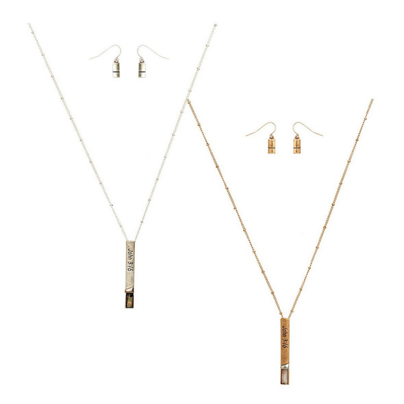 Assorted John 3:16 necklace and earring set comes in your choice of two different metallic colors.  Sold individually.