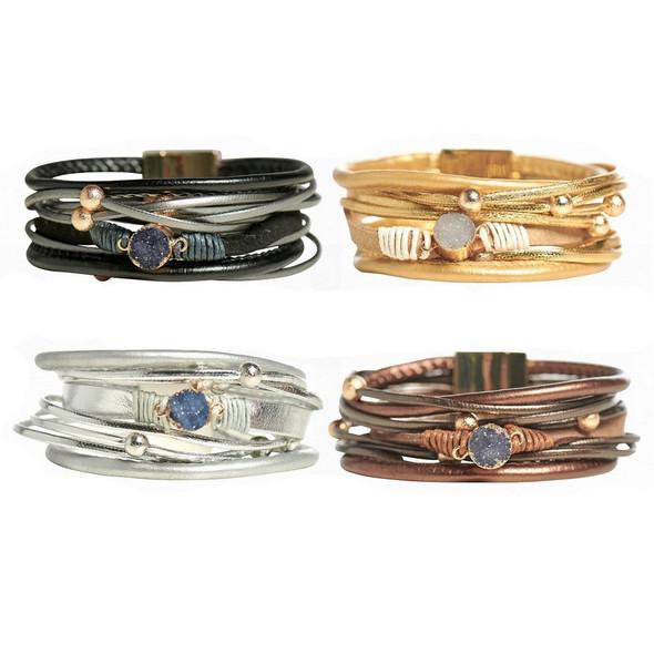 Druzy agate layered bracelet