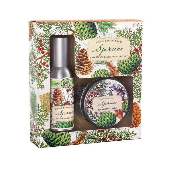 """A delightfully scented Room Spray and Candle Travel Gift Set designed to freshen the air in the places they stay. DETAILS Box Size: 6.4 x 7 x 1.9"""" / 16.2 x 17.8 x 4.8 cm SCENT True spruce with slight undertones of fruit and spice"""