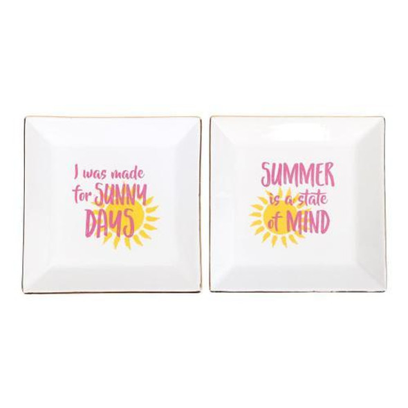 These summer inspired dishes will make a great addition to your home decor! The ceramic dish features witty sayings with sun icons and gold foil accent. Packed in an acetate box. 2 assorted styles. These summer inspired dishes will make a great addition to your home decor! Ceramic dish features witty sayings with sun icons and gold foil accent. Packed in an acetate box. 2 assorted styles.
