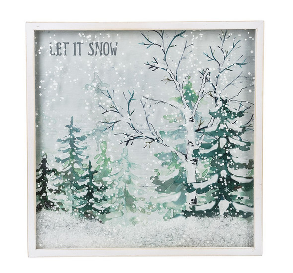 """Serene forest scene in light greens and teal, includes loose faux snow in front of shadowbox frame.  MDF/Glass/Wood 10"""" Sq. x 3/4"""" D."""